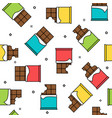 chocolate bars colorful seamless pattern white vector image