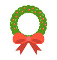 christmas wreath with bow flat icon new year vector image
