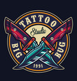 colorful tattoo studio round print vector image vector image