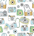 Cute hand drawn old and new cameras vector image vector image