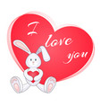 cute little bunny with red heart vector image vector image