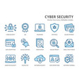 cyber security line icons set vector image vector image