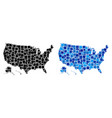 dot usa with alaska map with blue variant vector image