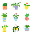 flat house plants in a cartoon style vector image vector image