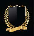 gold and black shield with gold laurels 18 vector image vector image