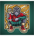 gorilla esport mascot logo design vector image