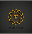 graphic golden v letter symbol on black background vector image vector image