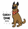 great dane dog wear red scarf cartoon vector image vector image