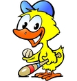 hand-drawn an cute chicken bawith bassball vector image