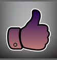 hand sign violet gradient vector image