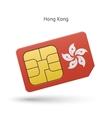 Hong Kong mobile phone sim card with flag vector image