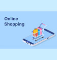 isometric smart phone online shopping concept vector image vector image