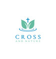 leaf water fresh nature christian jesus cross logo vector image vector image