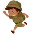 little boy in green costume with backpack vector image vector image