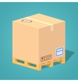Low poly cardboard box on the pallet vector image