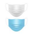 medical face masks white and blue mockup vector image