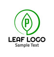 p leaf logo symbol icon sign vector image vector image