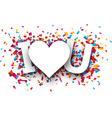 Paper love confetti sign vector image