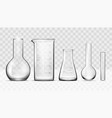 realistic glass laboratory equipment set flasks vector image