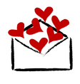 Red hearts in the envelope vector image