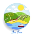 Sea Tour eco emblem vector image vector image