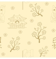 Seamless Japanese symbols background vector image vector image