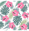 seamless pattern with exotic leaves and hibiscus vector image vector image