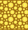 seamless pattern with golden bitcoins on brown vector image vector image