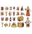 set beer glass mug or bottle oktoberfest vector image vector image