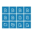 Set of Files icons on blue background vector image vector image