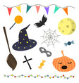 set of halloween attributes vector image