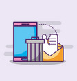 smartphone email spam trash can vector image vector image