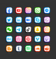 social media network 3d web icons set vector image vector image