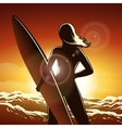 Surfer girl on a beach vector image vector image