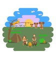 Travel family on African safari vector image vector image