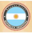 vintage label cards argentina flag vector image