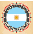 Vintage label cards of Argentina flag vector image vector image