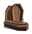 Wooden coffin with cross isolated vector image vector image