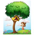 A girl in the garden with a bird in a bird house vector image vector image