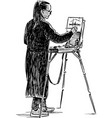 a young artist sketching outdoors vector image