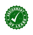 assignment of lease scratched stamp with tick vector image vector image