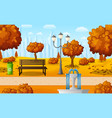 autumn city park with bench and fountain vector image vector image