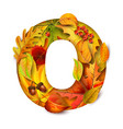 autumn stylized alphabet with foliage letter o vector image vector image