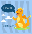 baby dragon with text hello banner vector image