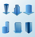 Building icon set in blue tone vector image