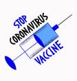 coronavirus vaccine pandemic concept injector vector image
