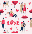 couple in love characters people seamless pattern vector image