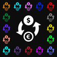 Currency exchange icon sign Lots of colorful vector image vector image