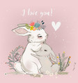 cute hare with child vector image vector image