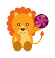 cute lion with caramel sweet candies vector image